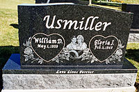 Etched portrait double  granite memorial
