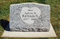 Floral heart granite slant memorial